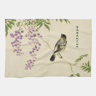 Japanese Vintage Lilac Sparrow Kitchen Towel