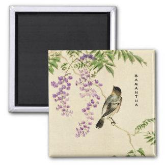 Japanese Vintage Lilac Sparrow Magnet