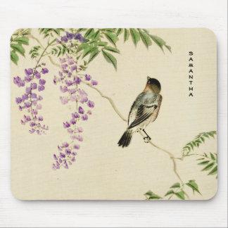 Japanese Vintage Lilac Sparrow Monogram Mousepad