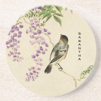 Japanese Vintage Lilac Sparrow Sandstone Coaster