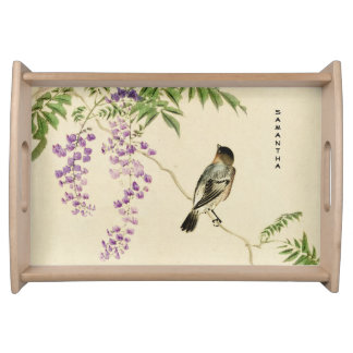 Japanese Vintage Lilac Sparrow Serving Tray