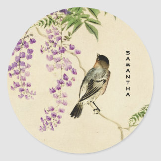 Japanese Vintage Lilac Sparrow Sticker