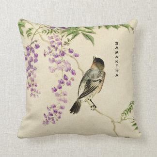 Japanese Vintage Lilac Sparrow Throw Pillow