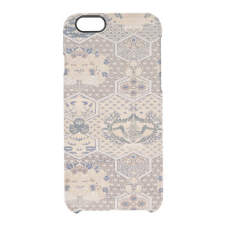 Japanese Vintage Pink Blue Geometric Textile Clear iPhone 6/6S Case