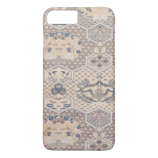 Japanese Vintage Pink Blue Geometric Textile iPhone 7 Plus Case