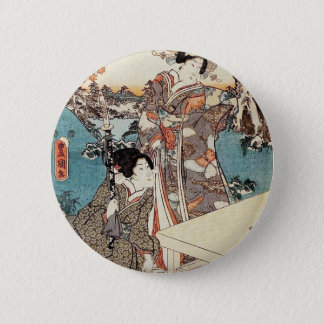 Japanese vintage ukiyo-e geisha old scroll 2 inch round button