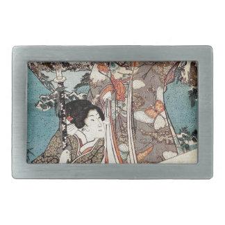 Japanese vintage ukiyo-e geisha old scroll belt buckle