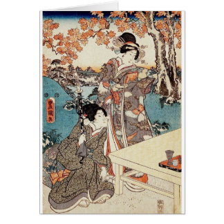 Japanese vintage ukiyo-e geisha old scroll card