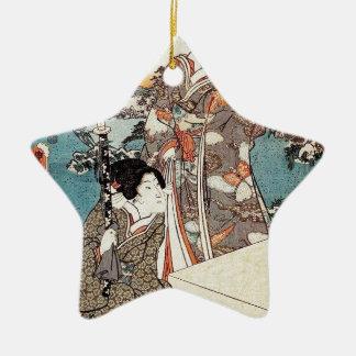 Japanese vintage ukiyo-e geisha old scroll ceramic ornament