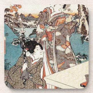 Japanese vintage ukiyo-e geisha old scroll drink coasters