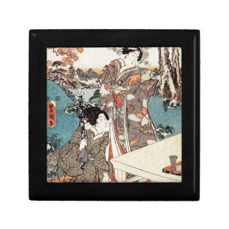 Japanese vintage ukiyo-e geisha old scroll gift box