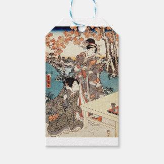 Japanese vintage ukiyo-e geisha old scroll gift tags