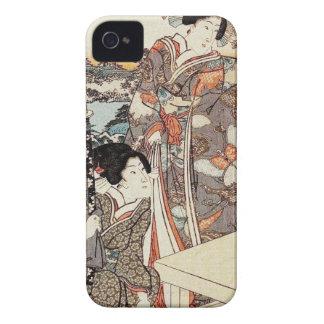 Japanese vintage ukiyo-e geisha old scroll iPhone 4 Case-Mate cases