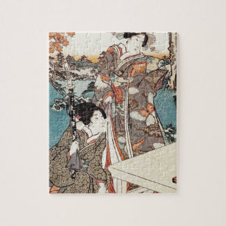Japanese vintage ukiyo-e geisha old scroll jigsaw puzzle
