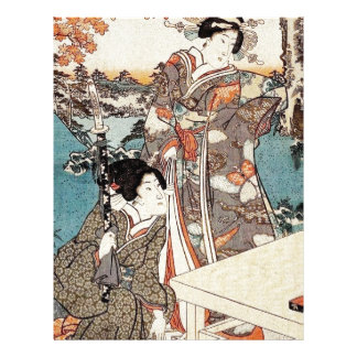 Japanese vintage ukiyo-e geisha old scroll letterhead