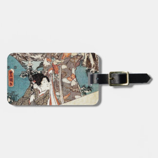 Japanese vintage ukiyo-e geisha old scroll luggage tag