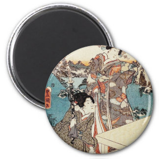Japanese vintage ukiyo-e geisha old scroll magnet