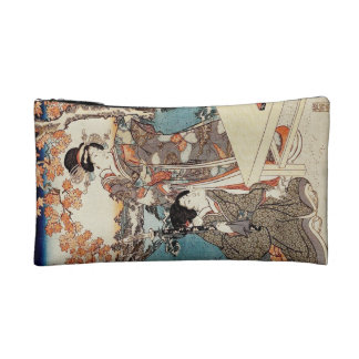 Japanese vintage ukiyo-e geisha old scroll makeup bag