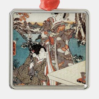 Japanese vintage ukiyo-e geisha old scroll metal ornament
