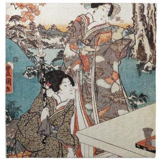 Japanese vintage ukiyo-e geisha old scroll napkin