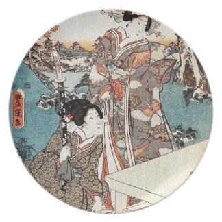 Japanese vintage ukiyo-e geisha old scroll plate
