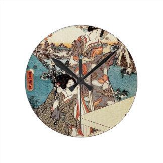 Japanese vintage ukiyo-e geisha old scroll round clock