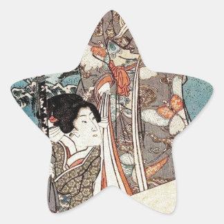 Japanese vintage ukiyo-e geisha old scroll star sticker