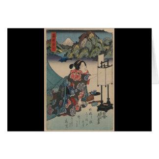 Japanese Vintage Ukiyo-e Lady Mountain Scene Card