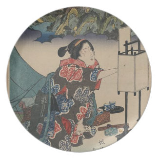 Japanese Vintage Ukiyo-e Lady Mountain Scene Dinner Plates