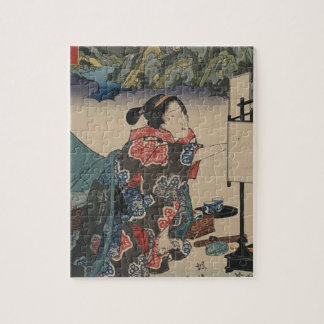 Japanese Vintage Ukiyo-e Lady Mountain Scene Jigsaw Puzzle
