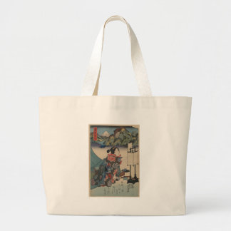Japanese Vintage Ukiyo-e Lady Mountain Scene Large Tote Bag