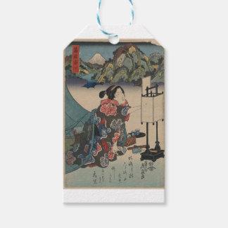 Japanese Vintage Ukiyo-e Lady Mountain Scene Pack Of Gift Tags
