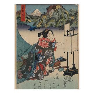 Japanese Vintage Ukiyo-e Lady Mountain Scene Postcard
