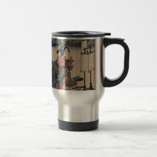 Japanese Vintage Ukiyo-e Lady Mountain Scene Travel Mug