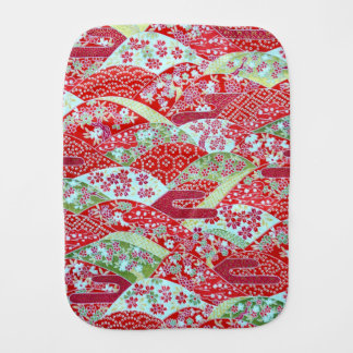 Japanese Washi Art Red Floral Origami Yuzen Burp Cloth
