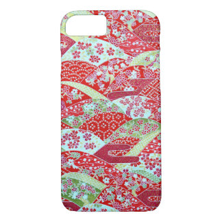 Japanese Washi Art Red Floral Origami Yuzen iPhone 8/7 Case