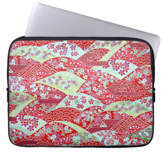 Japanese Washi Art Red Floral Origami Yuzen Laptop Sleeve