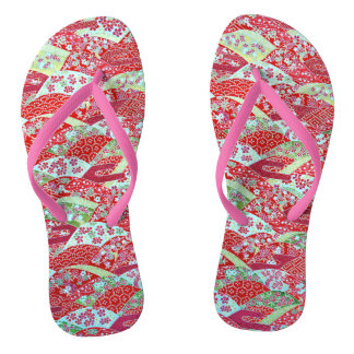 Japanese Washi Art Red Floral Origami Yuzen Pink Flip Flops