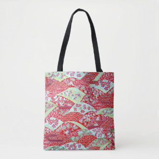 Japanese Washi Art Red Floral Origami Yuzen Tote