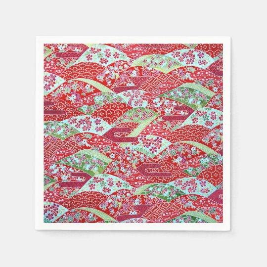 Japanese Washi Red Floral Origami Yuzen Napkins Disposable Napkins