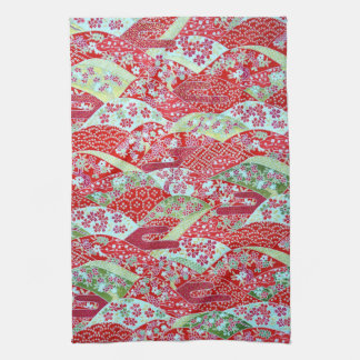 Japanese Washi Red Floral Origami Yuzen Towel