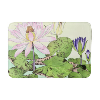 Japanese Water Lily Bloom Bath Mat