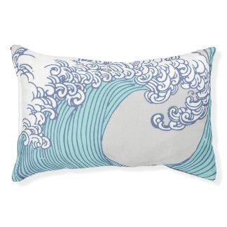 Japanese Wave Art Ocean Print Blue Beach Pet Bed