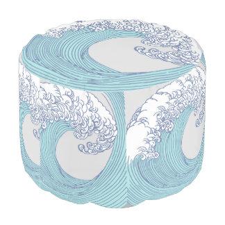 Japanese Wave Art Ocean Print Blue Beach Pouf