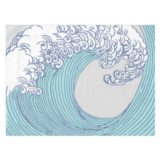 Japanese Wave Art Ocean Print Blue Beach Tablecloth