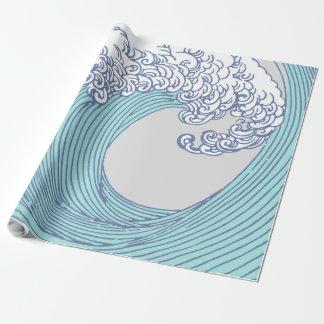 Japanese Wave Art Ocean Print Blue Beach Wrapping Paper