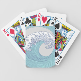 Japanese Wave Art Print Blue Ocean Beach Bicycle Playing Cards