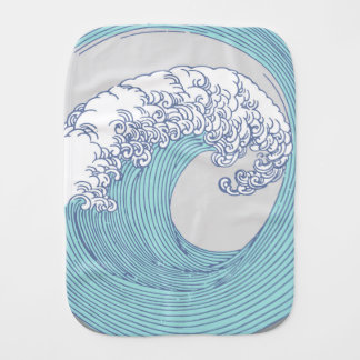 Japanese Wave Art Print Blue Ocean Beach Burp Cloth