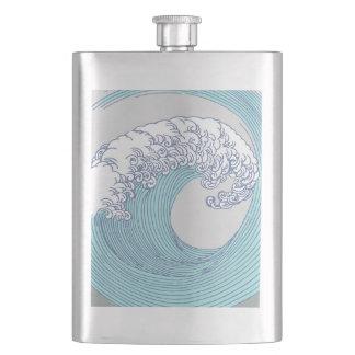 Japanese Wave Art Print Blue Ocean Beach Hip Flask