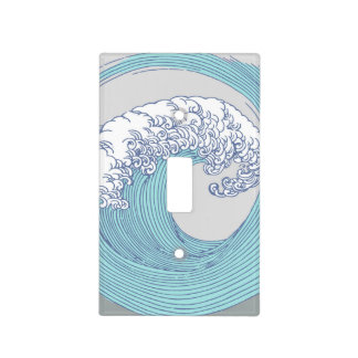 Japanese Wave Art Print Blue Ocean Beach Light Switch Cover